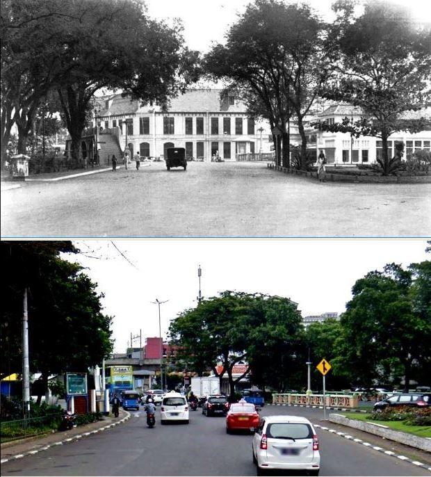 Verkeersweg in het centrum van de stad, Sluisbrug te Batavia, 1910 1935, ,., Pintu Air, di depan Mesjid Istiqlal, Jakarta,  2017