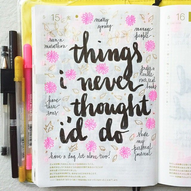 Day 17 ol #listersgottalist: things I thought I would never do  #journal #artjournal #hobonichi #planner #diary #notebook #filofax #mtn #midori #scrapbooking #stationery #pens #doodles #doodling #type #typography #letters #lettering #handwriting #handlettering #lettering #calligraphy #brushpens #brushlettering