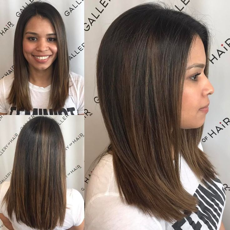 This Sleek Cut with Subtle Layers and Brunette Balayage is a great look for someone seeking a classic feminine style. This layered cut can be worn sle...