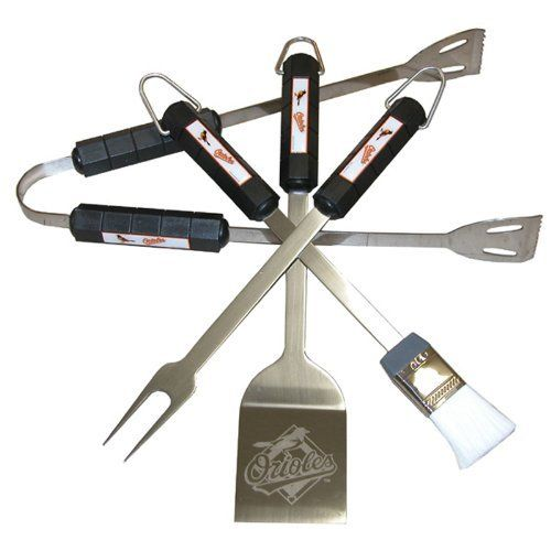 Baltimore Orioles - 4 Pc Bbq Set by Siskiyou. $51.00. Please refer to SKU# PRA5831471 when you inquire.. Brand Name: Siskiyou Sports Mfg#: 05103. Shipping Weight: 2.50 lbs. This product may be prohibited inbound shipment to your destination.. Residents of CA, DC, MA, MD, NJ, NY - STUN GUNS, AMMO/MAGAZINES, AIR/BB GUNS and RIFLES are prohibited shipping to your state. Also note that picture may wrongfully represent. Please read title and description thoroughly.. B...