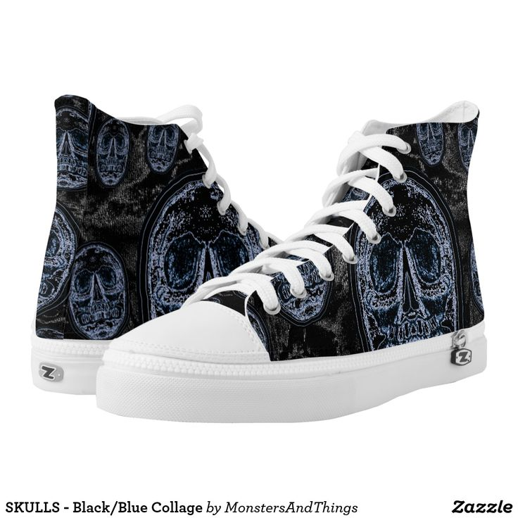 SKULLS - Black/Blue Collage High-Top Sneakers