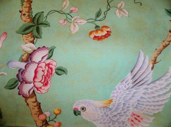 BRUNSCHWIG & FILS CHINOISERIE Kanchou Bird Parrot Toile Fabric 10 Yards Green Multi
