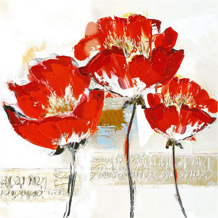 Toile peinte floral 60x60 rouge CR. Diffusion Photoplus.fr