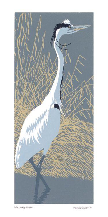 Robert Gillmor   -  Wary Heron linocut