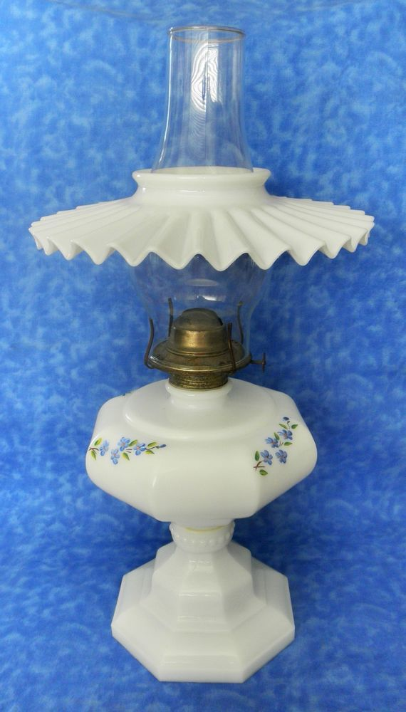 1698 best quinques images on pinterest oil lamps kerosene lamp vtg milk glass oil lamp with petticoat shade hand painted blue flowers violets mozeypictures Image collections