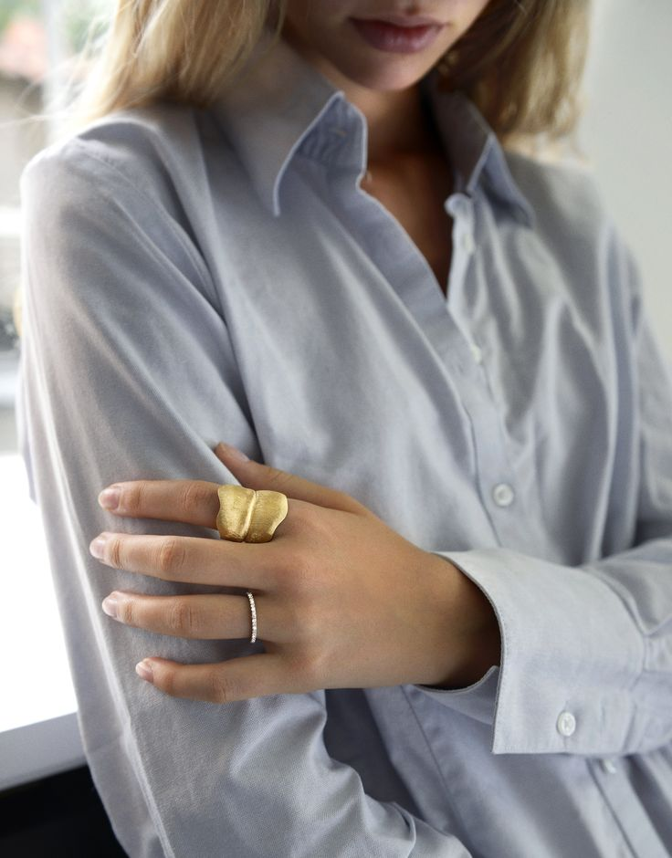 AUTUMN LOOKS 2015 by Ole Lynggaard Copenhagen Love Band ring and Leaves ring Designed by Charlotte Lynggaard