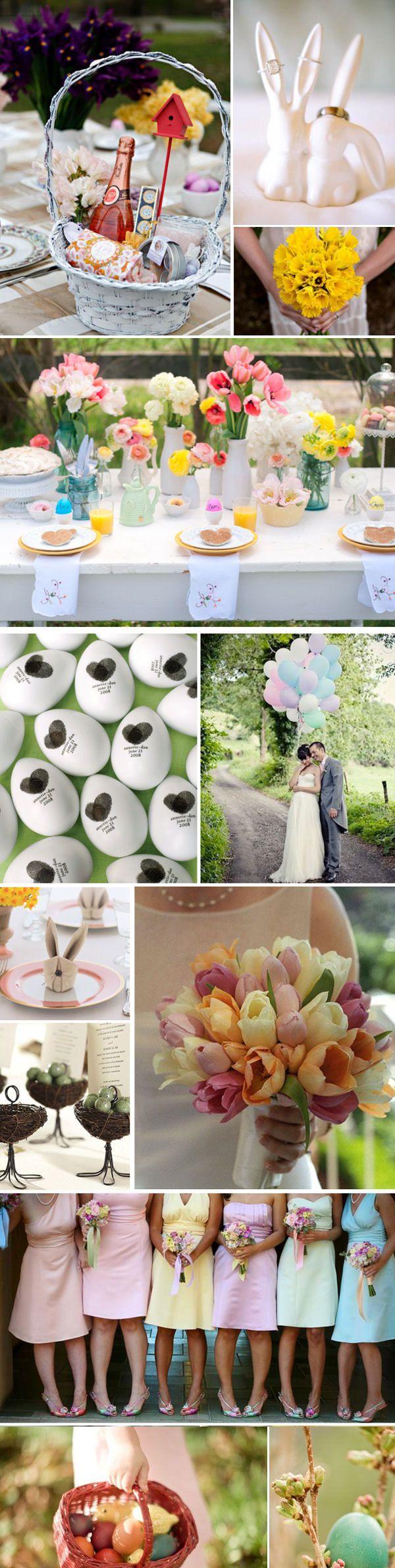 Easter Wedding Celebration Including Folded Bunny Napkins Painted Eggs Pastel Bridesmaids Dresses