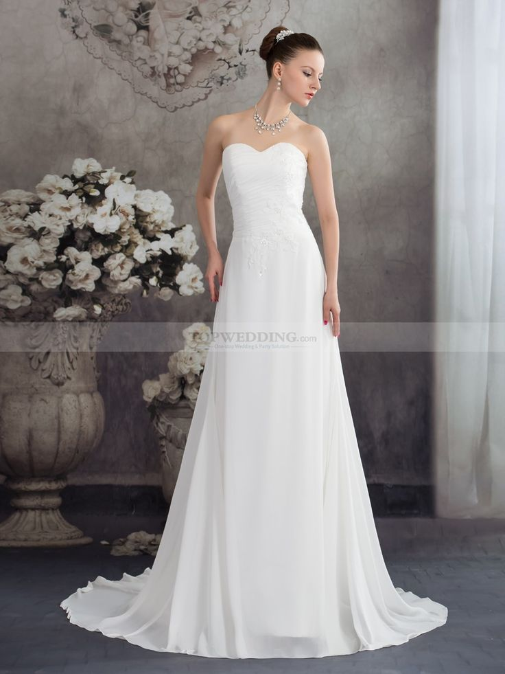 Quetura - corte a cola corte vestido de novia de gasa con cuentas