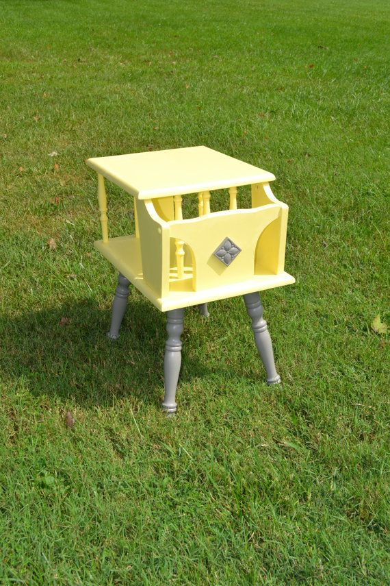 Gray and Yellow Side Table, Hand Painted Table, Nightstand