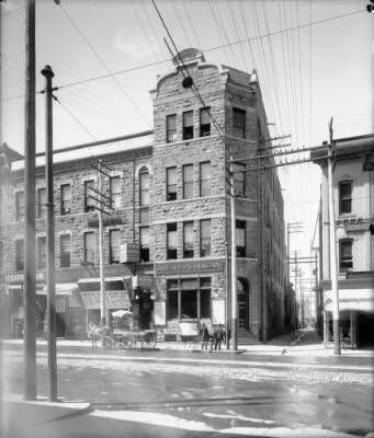 View of the Denver Republican Newspaper building at 1118 16th (Sixteenth) Street in downtown Denver, Colorado. - [between 1910 and 1915?] :: History Colorado