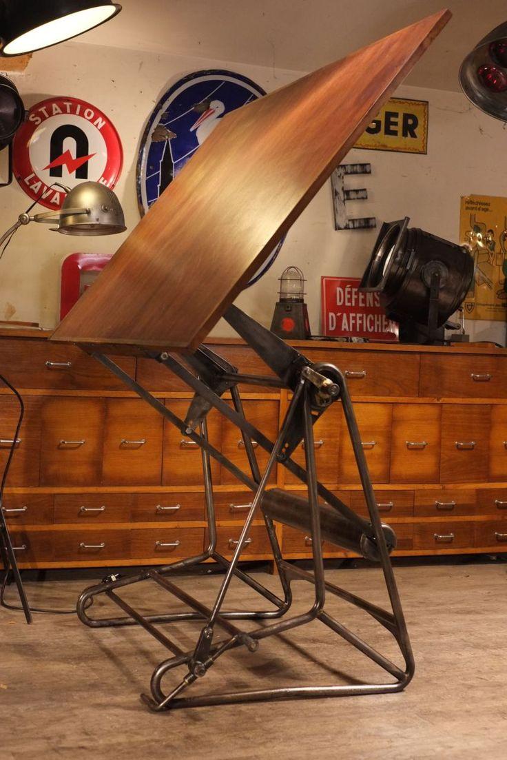meuble industriel table a dessin oza ancienne style industriel pinterest meubles. Black Bedroom Furniture Sets. Home Design Ideas