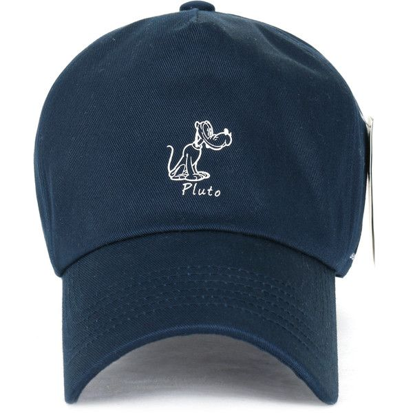 Disney Cotton Solid Color Cute Pluto Logo Adjustable Curved Hat... ($14) ❤ liked on Polyvore featuring accessories, hats, cotton baseball cap, logo hats, logo baseball hats, cotton hat and logo ball caps