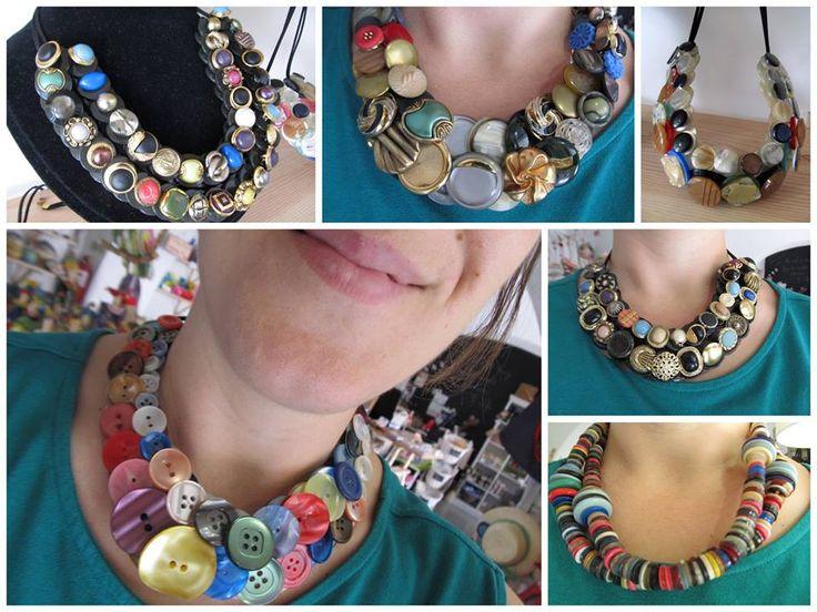 Os colares de botões do Gonçalo são acessórios cheios de personalidade com uma pitada de extravagância, uns pozinhos de elegância e um gostinho vintage... | Gente da minha Terra