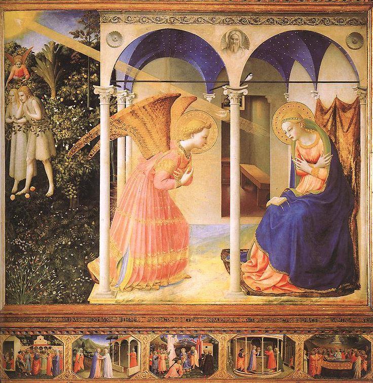 Fra Angelico Anunciacion Quattrocento se uasa la perspectiva y la arquitectura. Es de tema religioso, sobre oleo