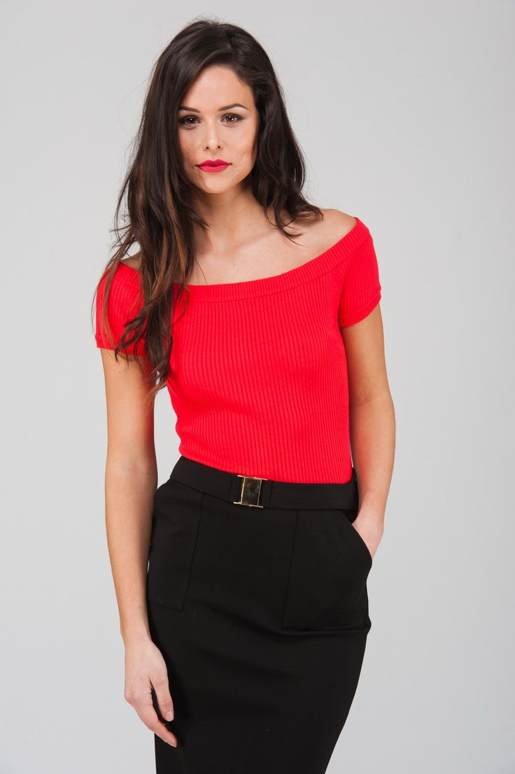 Red bardot top from Jane Norman, £25