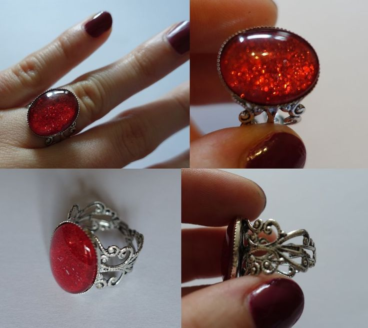 Handmade ring, red, adjustable, ONE OF A KIND, gothic in Jewellery & Watches, Costume Jewellery, Rings   eBay
