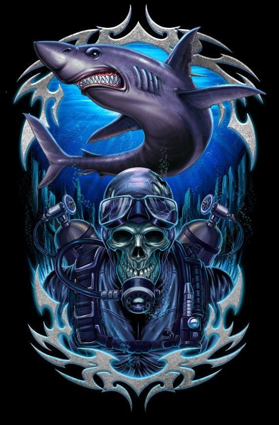 #24illustration #rendy24 #illustration #scuba #dive #diver #shark #skull #tshirt #illustration #digitalpainting