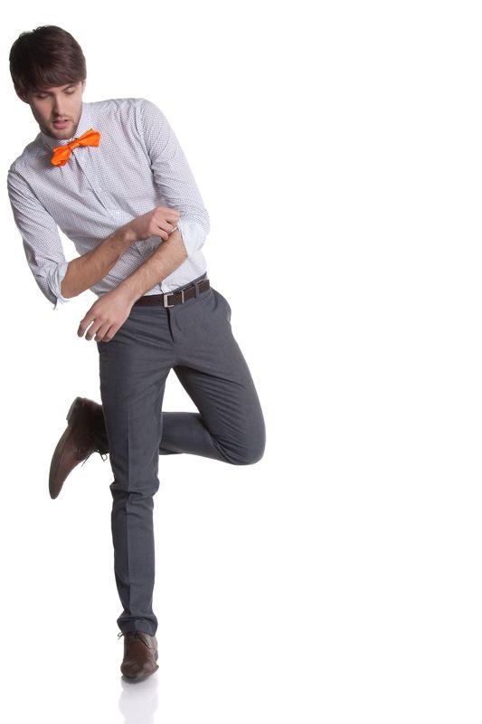 Zak in orange origami bow tie by Knot Theory