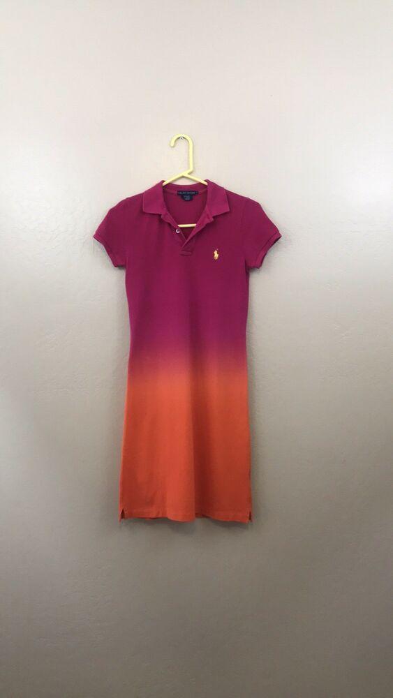 Ralph Polo Womens Cotton Ombre Lauren Sport Dress Mesh Small htrQsd