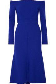Off-the-shoulder stretch wool-blend crepe dress