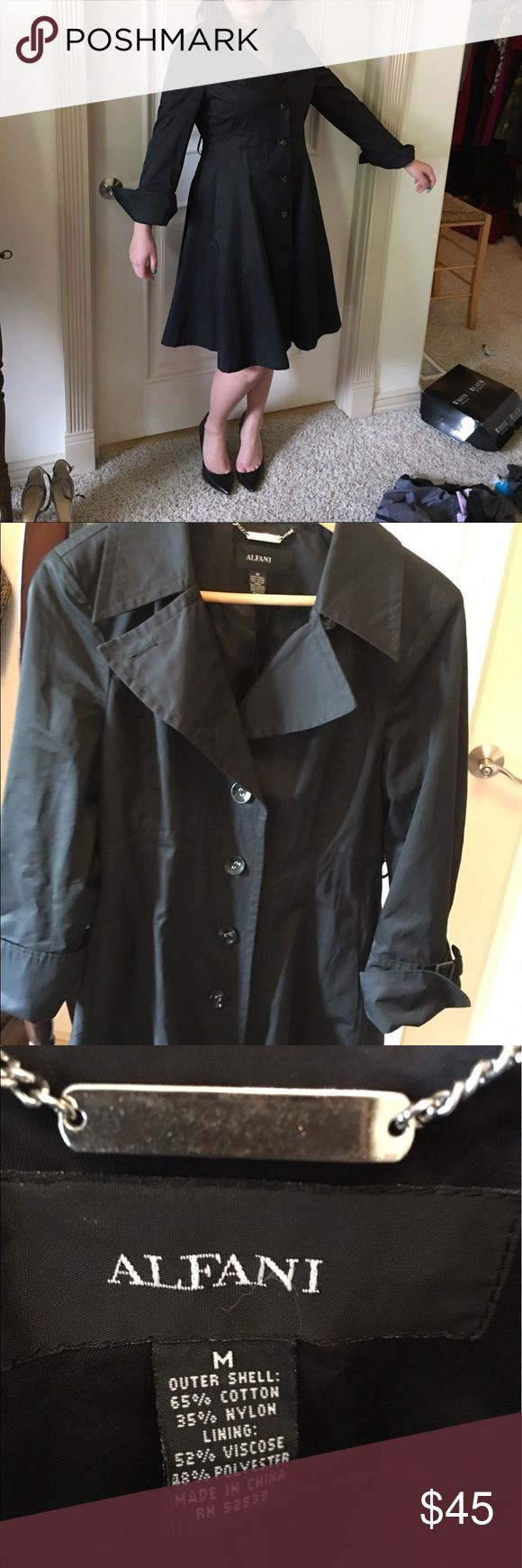 "Alfani black trench coat Alfani black trench coat. Feminine and flattering lines. Length 38"", measures 33"" around the waist. Comes from a smoke free home. Great condition. Jackets & Coats Trench Coats"