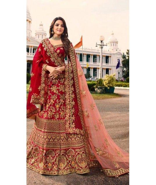 c840e2a1d0 It is Gorgeous Red Lehenga Choli. This Satin Silk #Lehenga #Choli and Net