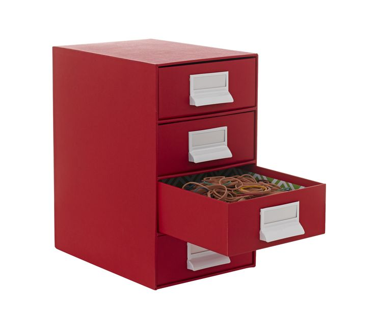 Drawers 4 high red