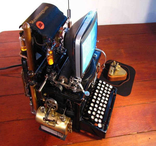 Steampunk Mac uses a 140 year old typewriter and a 1980's Classic Apple Mac computer...to make a steampunk computer.  The Morse Code telegraph key has een converted into a mouse!