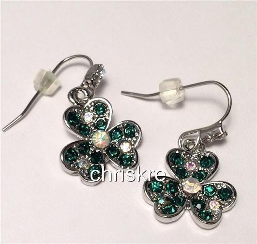 Silver Crystal Shamrock Earrings Green Irish Celtic Pride St. Patricks Day USA #Unbranded #DropDangle