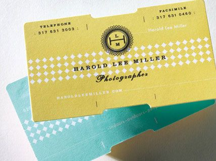 I love these business cards... the color, die cuts, typography, pattern..