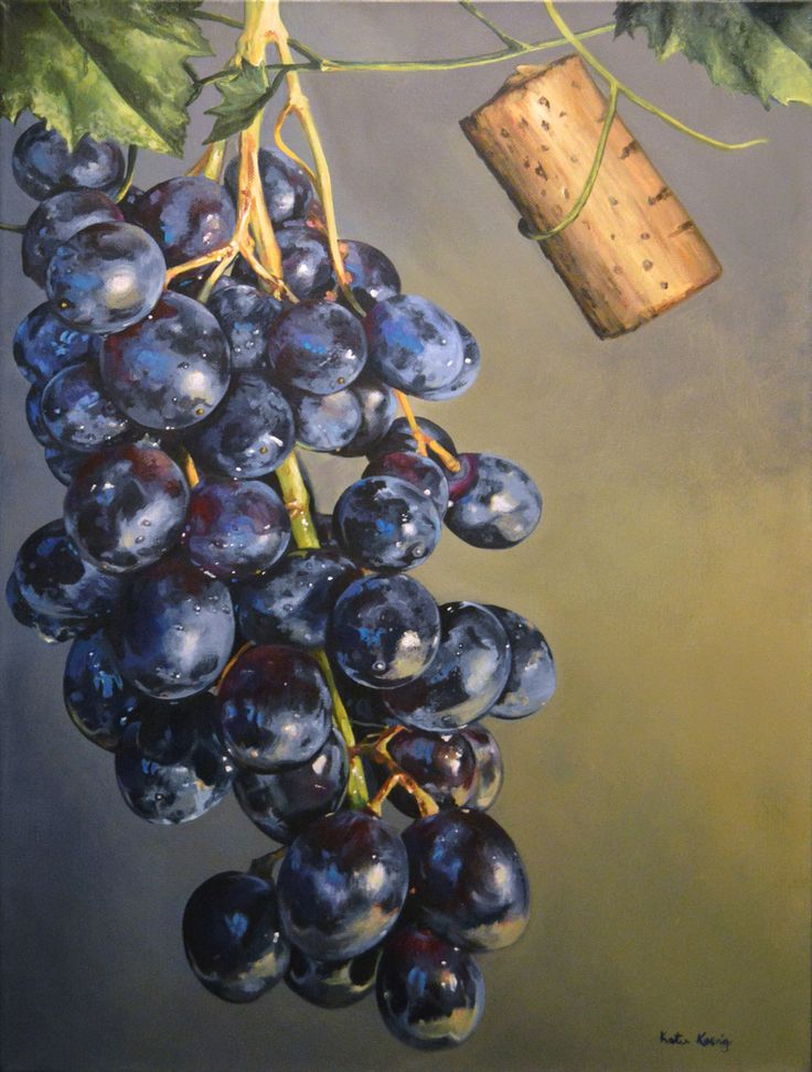 "Katie Koenig ""On The Vine"" 18 x 24 Acrylic on Canvas Realistic grape painting wine painting"