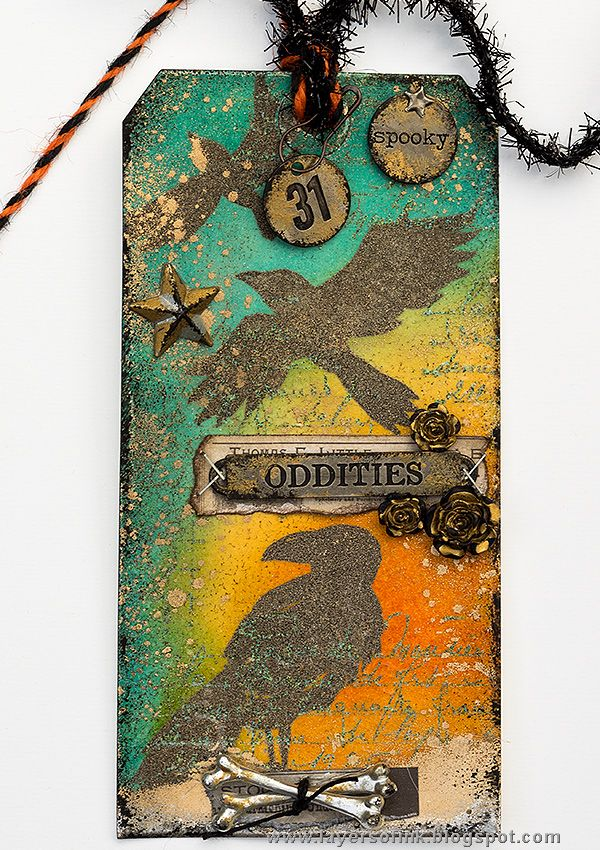 Layers of ink - Totally Embossed Tag Tutorial by Anna-Karin. Made for the Simon Says Stamp Monday Challenge Blog using Halloween stamps by Tim Holtz and Stamper's Anonymous, as well as lots of embossing powder, metallic embellishments, and metallic ink and paint by Ranger Ink.