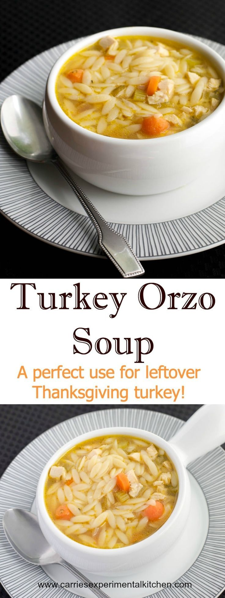 This Turkey Orzo Soup is a perfect use for leftover Thanksgiving turkey. Try substituting Sunday's leftover roasted chicken too! #soup #turkey #orzo