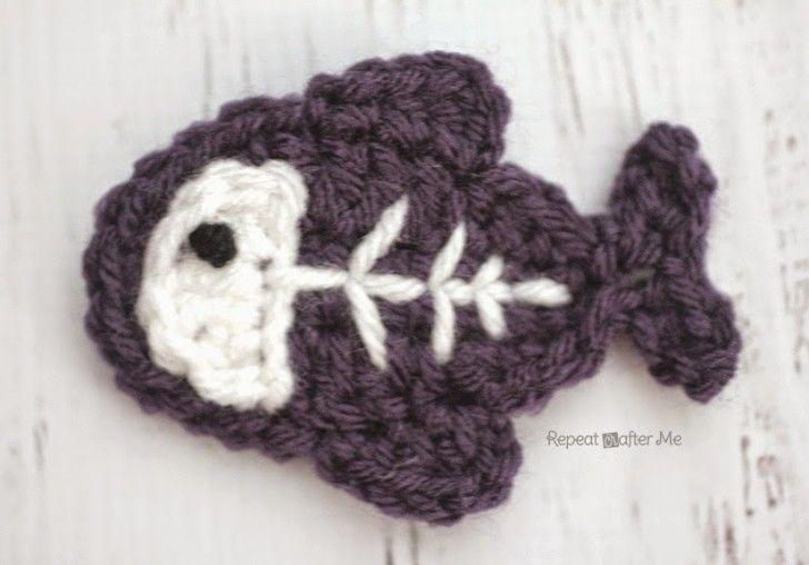 Free crochet pattern for x ray fish appliqué