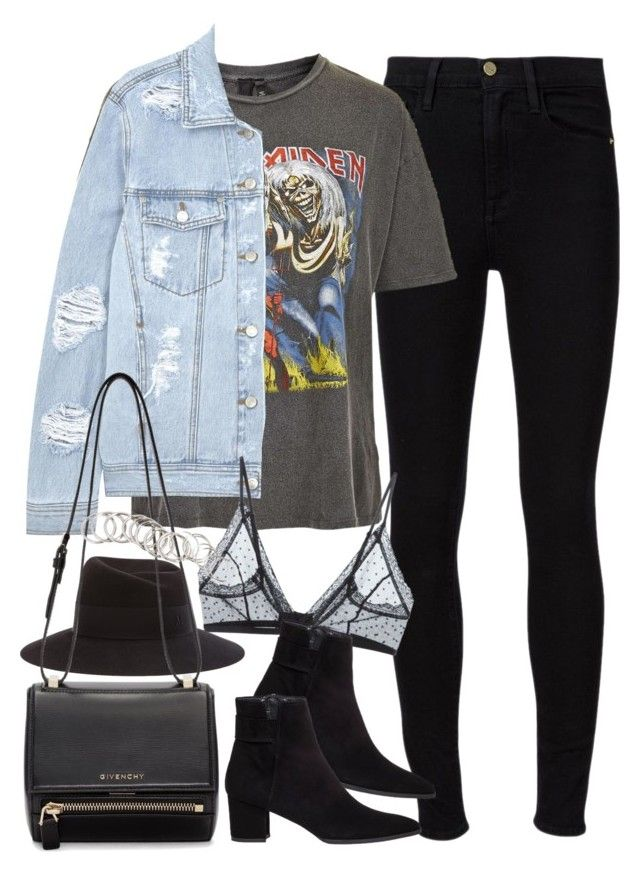 """""""Outfit for meeting up with friends"""" by ferned on Polyvore featuring Frame Denim, And Finally, SJYP, Anine Bing, Stuart Weitzman, Maison Michel, Givenchy and H&M"""