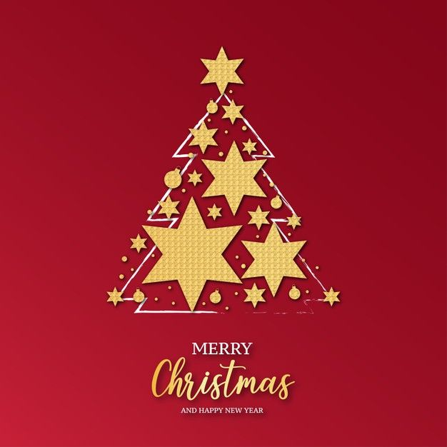 Download Elegant Christmas Card With Christmas Tree Decorated With Gold Stars For Free Beautiful Christmas Cards Merry Christmas Card Christmas Card Template