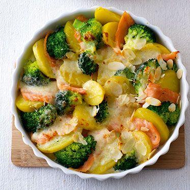Brokkoli-Räucherlachs-Gratin mit Kartoffeln