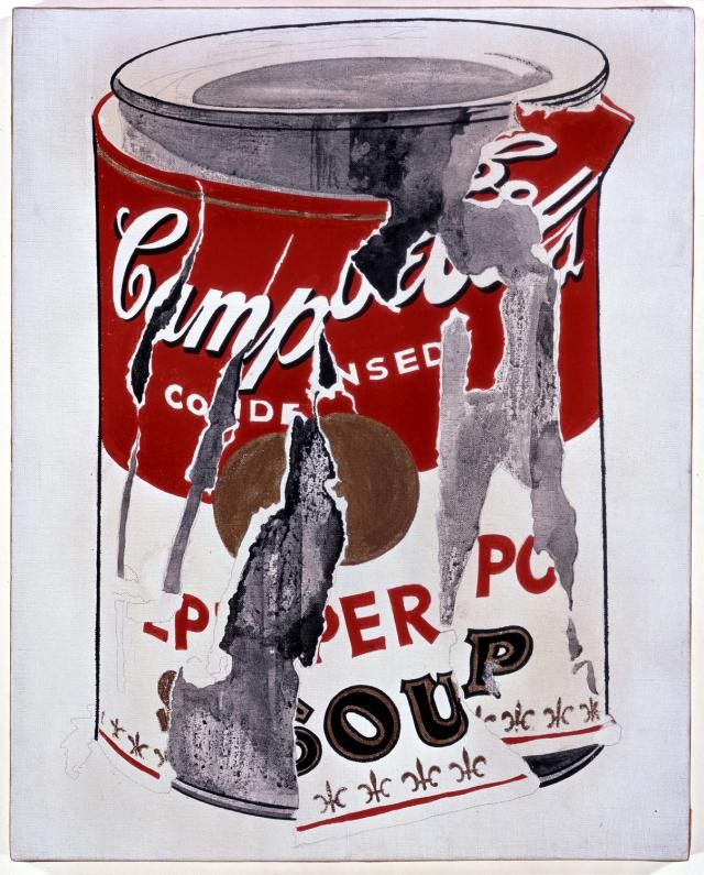 Appropriation / Appropriation Art: Andy Warhol (American, 1928-1987). Small Torn Campbell's Soup Can (Pepper Pot), 1962. Casein, gold paint, and graphite on linen. 20 x 16 in. (50.8 x 40.6 cm). © 2008 Andy Warhol Foundation for the Visual Arts / ARS, New York.