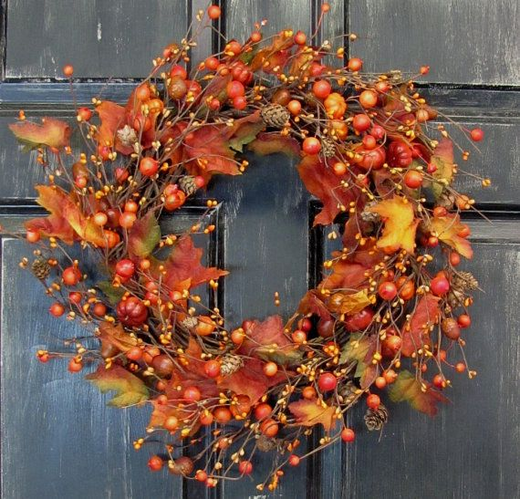Fall Wreath  Pine Cones Maple Leaves & Pip Berry by Designawreath, $54.95
