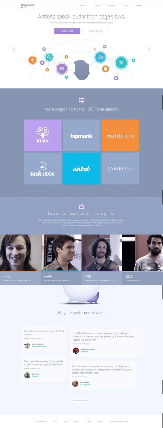 Mixpanel website #web #design #layout #ui