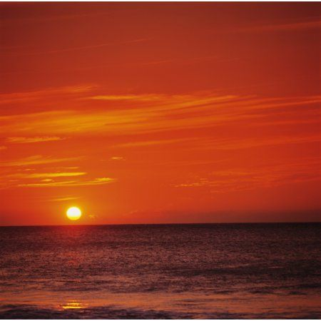Orange Sunset Over Ocean Water Sunball On Horizon Canvas Art - Kate Turning and Tom Gibson Design Pics (16 x 16)
