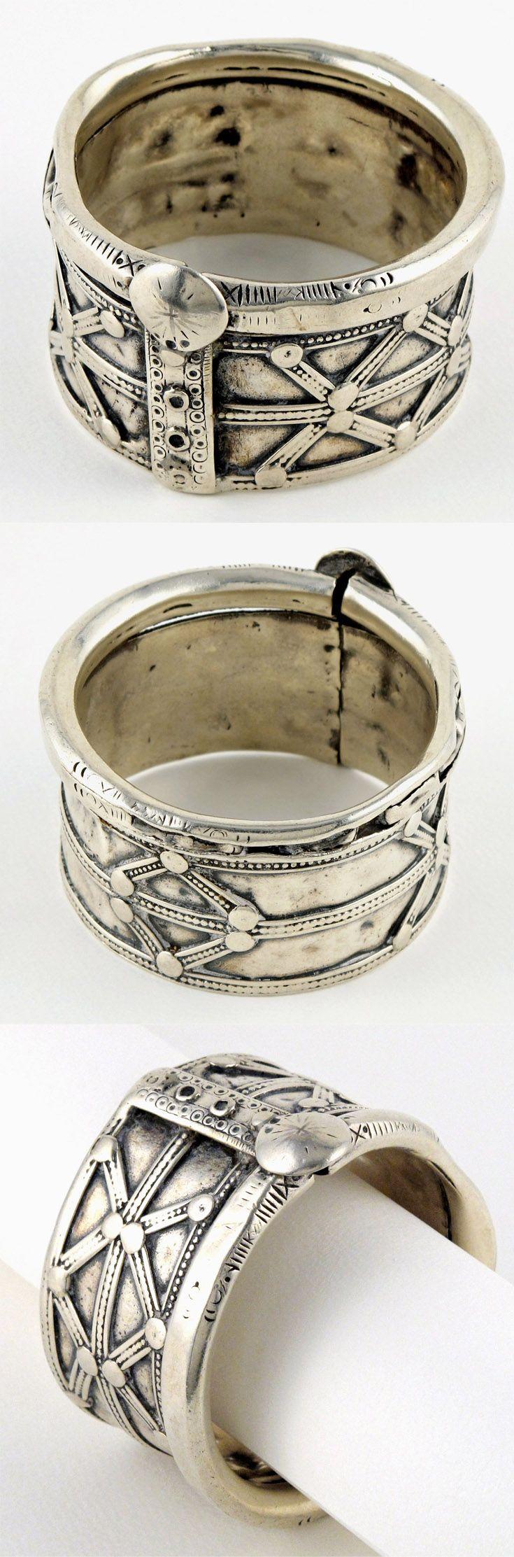 India - Rajasthan, Shekhawati region / Punjab | Heavy solid silver bracelet worn…