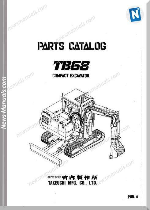 Takeuchi Tb68 Models Compact Excavator Parts Manual | Parts Manual