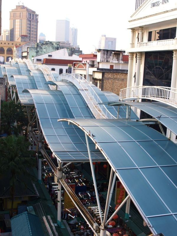 Kuala Lumpur - Chinatown. These waves are a roof to the large market at Petaling Street in Chinatown.