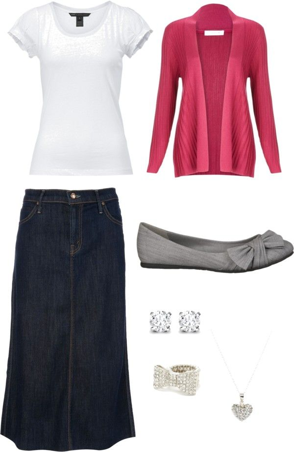 White t-shirt, blue jean skirt, pink cardigan, gray flats, silver posts, bow ring, & heart necklace.