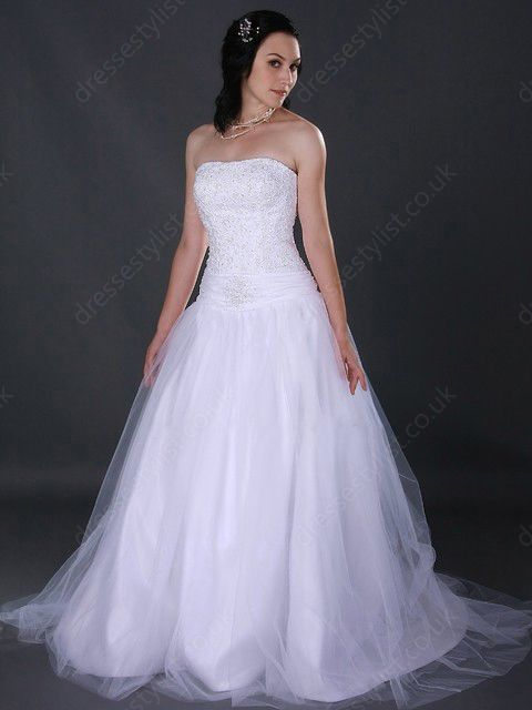 White Appliques Wedding Dress Shop uk