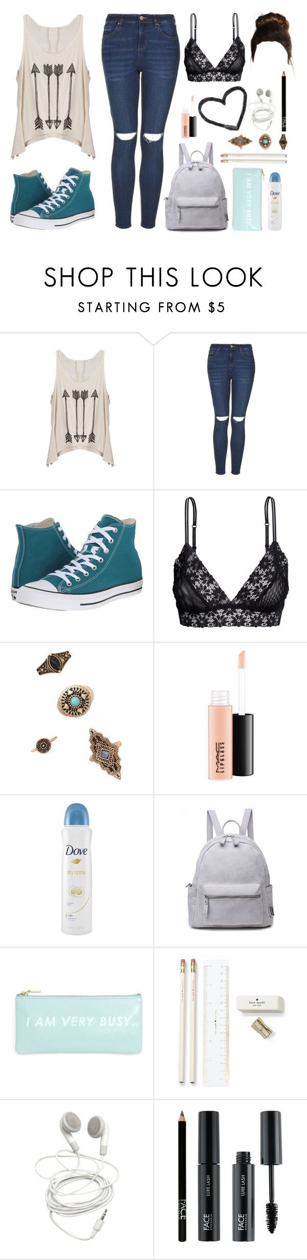 """back to school 1/3"" by sweetprimrose ❤ liked on Polyvore featuring Topshop, Converse, Forever 21, MAC Cosmetics, Dove, ban.do, Kate Spade and FACE Stockholm"