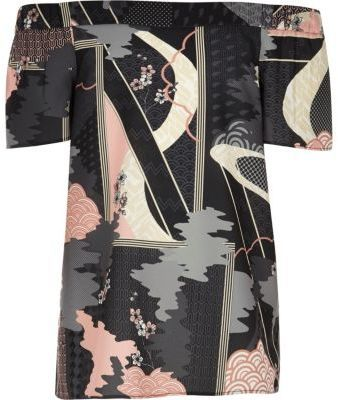 River Island Girls grey oriental print bardot top