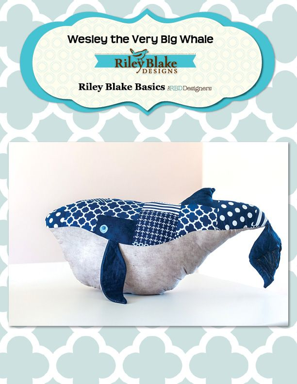 Wesley The Very Big Whale Free Project Sheet #rileyblakedesigns #whale #tutorial #softie