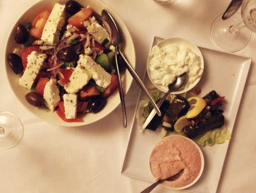 greek salad, tzatziki, taramosalata and grape vine leaves